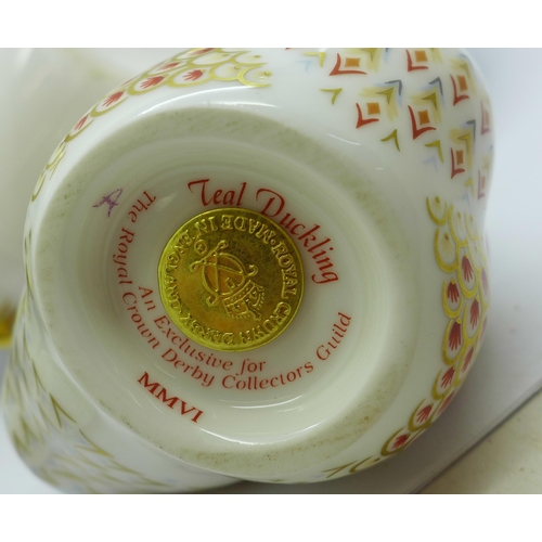 645 - Four Royal Crown Derby Paperweights - Collectors Guild Exclusive ''Teal Duckling' with Gold stopper ...