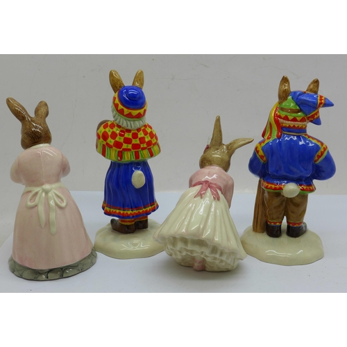 653 - Four Royal Doulton Bunnykins figures