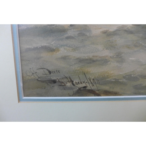 10 - Thomas Bush Hardy (1842-1897), Off Dover, watercolour, dated 1890, 34 x 95cms, framed