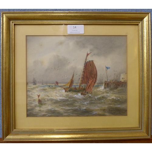 14 - Thomas Bush Hardy (1842-1897), Portsmouth, watercolour, 19 x 23cms, framed