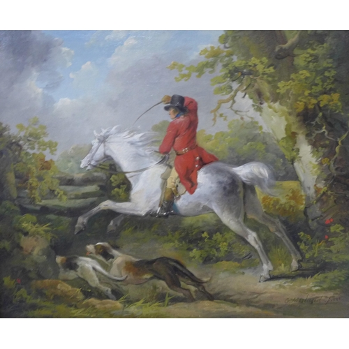 27 - George Morland (1763-1804), Over the Fence, oil on canvas, 30cm x 37cms, framed, Richard Green, New ...