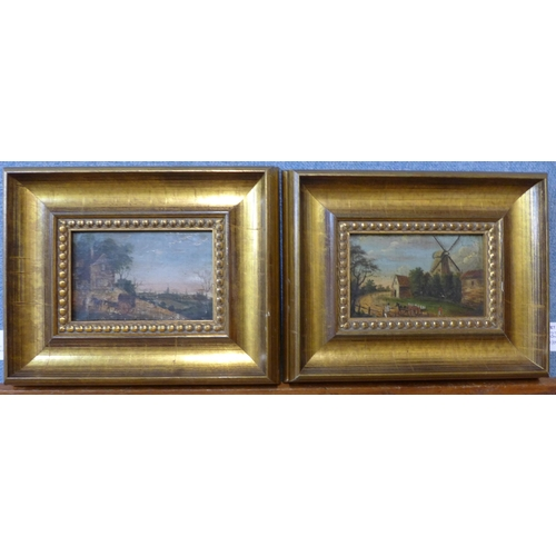 33 - Manner of Thomas Smith of Derby (1715-1767), pair of landscapes, 8 x 13cms, framed