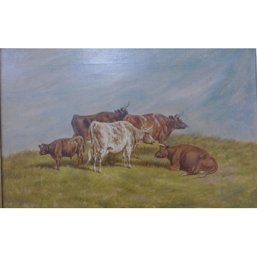 48 - W. Turner (19th Century), landscape with cattle, oil on canvas, 29 x 44cms, framed