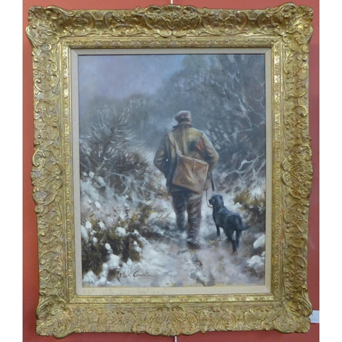 5 - Mick Cawston (1959-2006), huntsman and gun dog in a winter landscape, oil on canvas, 50 x 40cms, fra...