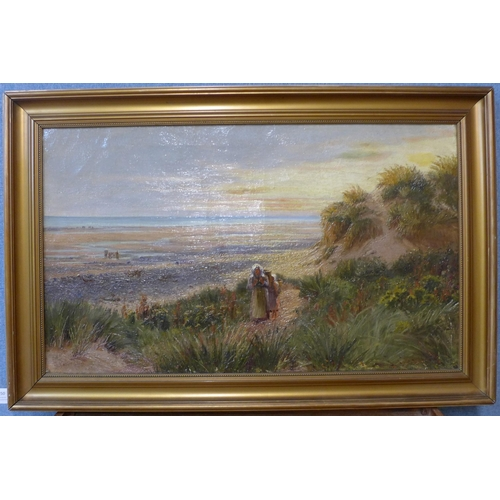50 - English School (late 19th/early 20th Century), coastal landscape with cockle pickers, indistinctly s...