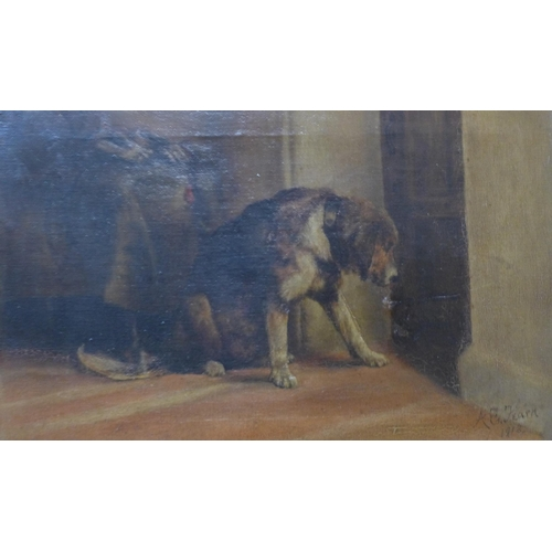 51 - A.E. Fearn, Suspense, after Edwin Landseer, oil on canvas, 25 x 40cms, framed