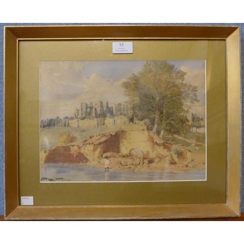 53 - H.W., Kenilworth Castle, Warwickshire, watercolour, dated 1837, 23 x 32cms, framed