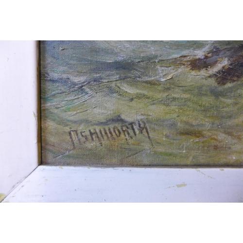 56 - * Ashworth, shipping off the coast, oil on canvas, 25 x 35cms, a/f