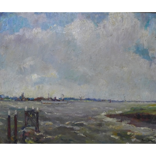 61 - A. Von Thoyen, Post Impressionist landscape, oil on canvas, 50 x 60cms, framed