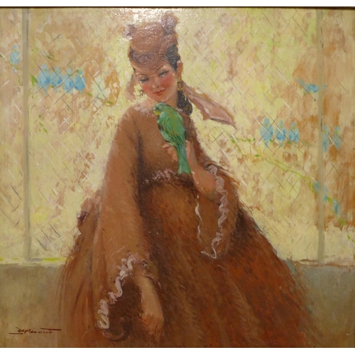 63 - French School, portrait of a lady holding a parrot, oil on board, indistinctly signed, 47 x 49cms, f...