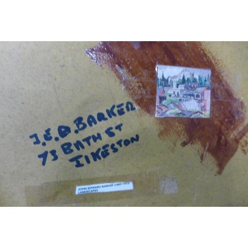 69 - John Edward Baker, view of Ilkeston, Derbyshire, oil on board, 29 x 34cms, framed