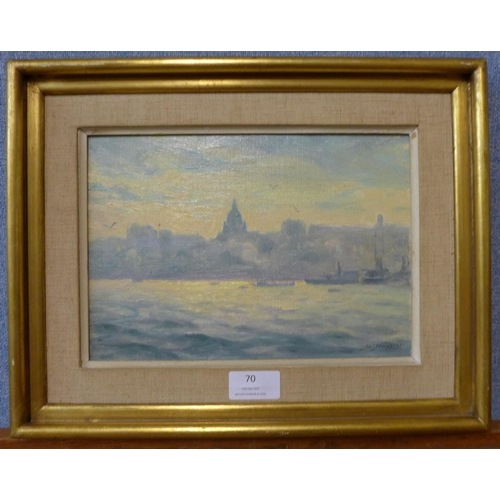 70 - Herman Hagg, boats on the River Thames with St. Pauls Cathedral in the distance, oil on board, 17 x ...