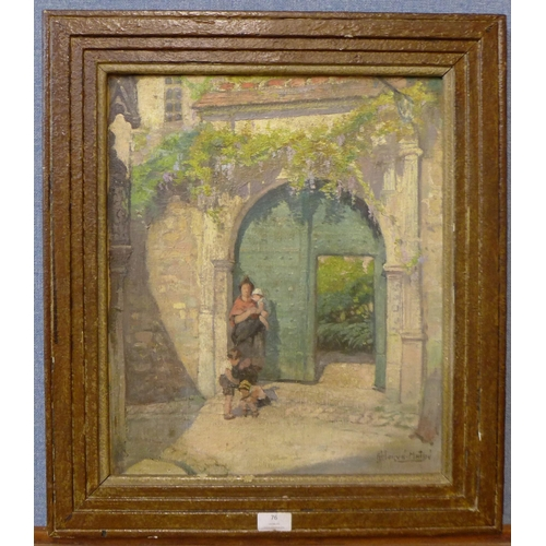 76 - Jules Herve (French, b. 1868), The Gateway in Le Mans, oil on canvas, 46 x 38cms, framed