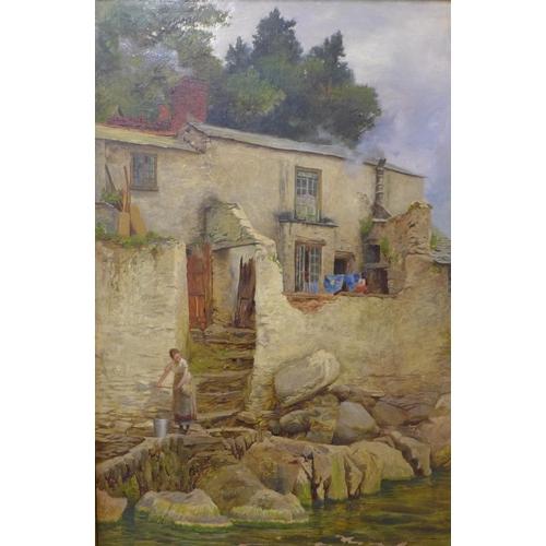 80 - George Hodgson (1847-1921), pair of coastal cottage landscapes, oil on canvas, 52 x 34cms, framed