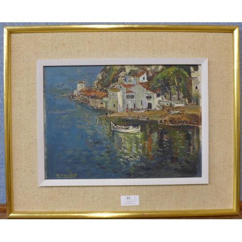 85 - Joan Vives Llull (1901-1982), Menorca harbour scene, oil on board, 23 x 33cms, framed, Aitken Dott &...