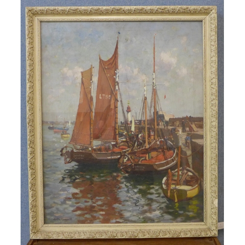 1 - Gyrth Russell (1892-1970), boats in a harbour, oil on canvas, 75 x 60cms, framed