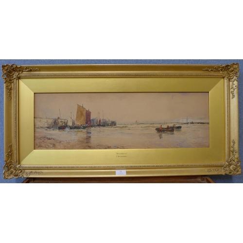 11 - Thomas Bush Hardy (1842-1897), Broadstairs, watercolour, 22 x 69cms, framed