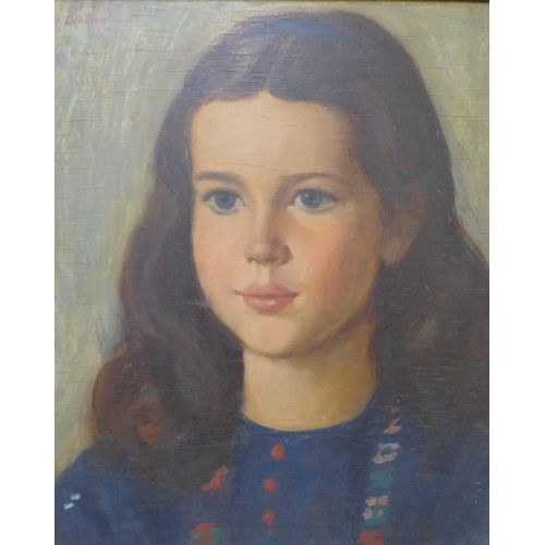 17 - Attributed to George Spencer Watson (1869-1934), portrait of a girl, oil on board, 36 x 29 cms, sign...