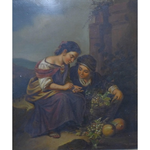 20 - Italian School (19th Century), pair of portraits depicting peasant boys and girls, oil on copper, 28...