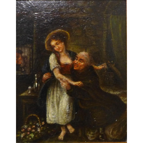 21 - Flemish School, pair of interior scenes with a monk, oil on board, 18 x 14cms, framed