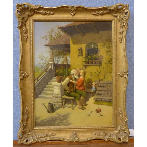 22 - Vida Gabor (Hungarian 1937-1999), young girl with grandfather in a courtyard, oil on board, 39 x 29c...