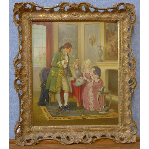 23 - Pierre Delage (1883-1956), A Welcome Visitor, oil on board, 43 x 36cms, framed
