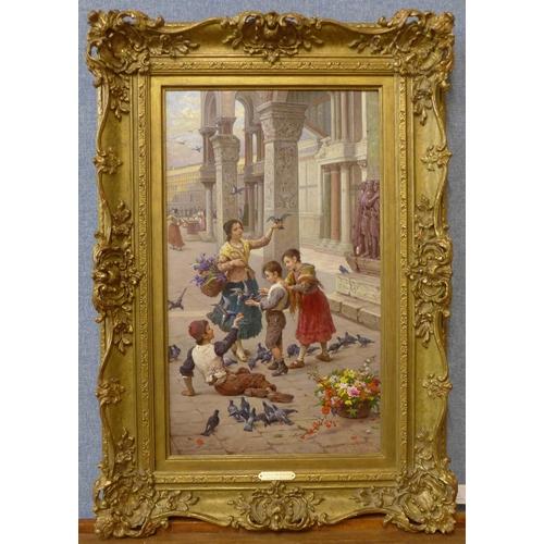 24 - Antonio Ermolao Paoletti (Venetian 1834-1912), Feeding The Pigeons, oil on board, 50cm x 29cms, fram...