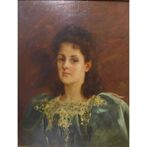 25 - Pierre Andre Brouillet (French 1857-1914), portrait of a lady, oil on board, 40 x 31cms, framed