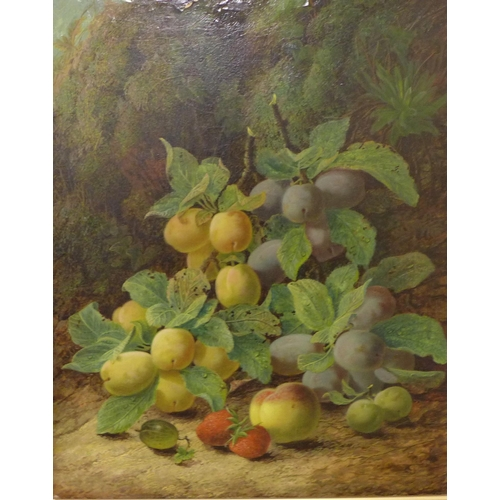 26 - Oliver Clare (1853-1927), still life of fruit on a mossy bank, oil on canvas, dated '99, 50 x 40cms,...