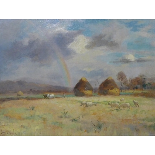 28 - Edwin Sherwood Calvert (Scottish 1844-1898), harvest landscape with a rainbow in the distance, oil o...