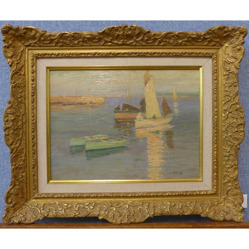30 - John Terrick Williams R.A. (1860-1936), boats in a harbour at sunset, oil on canvas, 22 x 29cm, fram...
