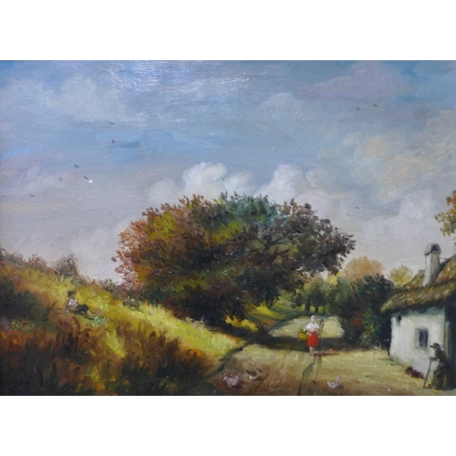 32 - English School (late 19th/early 20th Century), rural landscape with figures by a cottage, oil on can...