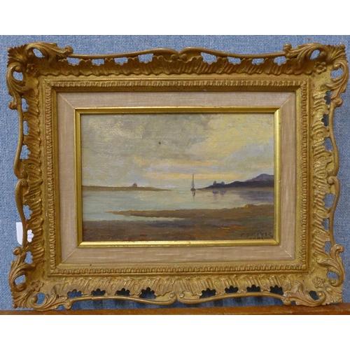 34 - E. Trevor, estuary landscape, oil on board, 14 x 22cms, framed