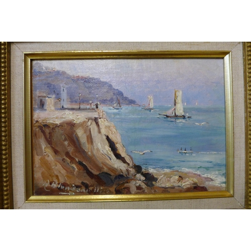 35 - A. Blondeau (French late 19th/early 20th Century), coastal landscape, oil on board, 15 x 21cms, fram...