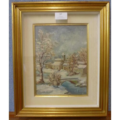 37 - * Terrill, winter river landscape, oil on board, 23 x 17cms, framed