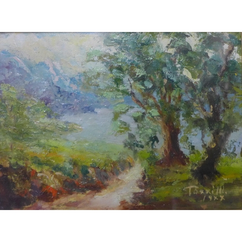 38 - * Terrill, summer rural landscape, oil on board, 17 x 23cms, framed