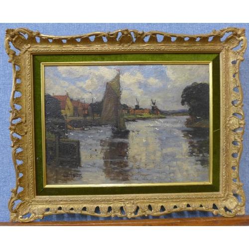 39 - G. Smith, Dutch river landscape, oil on canvas, 27 x 37cms, framed