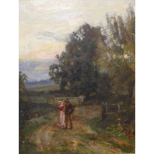 40 - Sidney Grant Rowe (1861-1928), rural landscape with lovers on a country path, oil on canvas, 44 x 33...