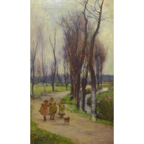 41 - John White (Scottish 1851-1933), rural landscape with children on a winding path, oil on canvas, 49 ...