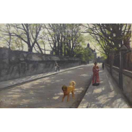 42 - C.G. Smith, landscape with figures on a road, oil on canvas, 34cm x 52cm, framed