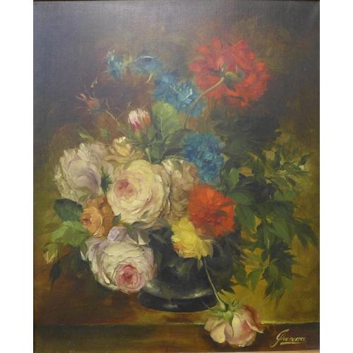 43 - Heinrich Garossa (Swiss b. 1902), still life of roses in a vase, oil on canvas, 59 x 48cms, framed