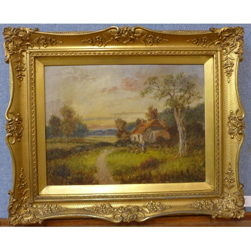 44 - English School (19th Century), pair of rural cottage landscapes, oil on canvas, 29 x 39cms, framed