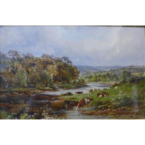 45 - Henry Morley Park (fl. 1884-95), Herefordshire landscape with cattle, oil on board, 15 x 23cms, fram...