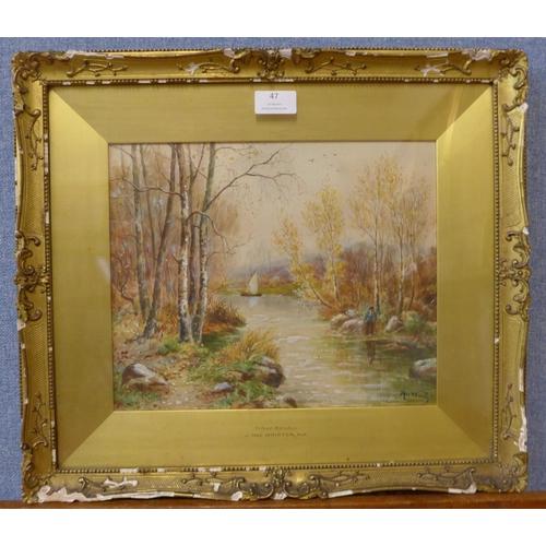 47 - John MacWhirter RA (Scottish 1839-1911), Silver Birches, watercolour, 25 x 31cms, framed