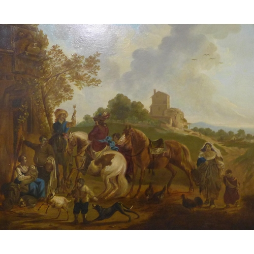 49 - Continental School, figures on horseback by an inn, oil on board, 34 x 42cms, framed