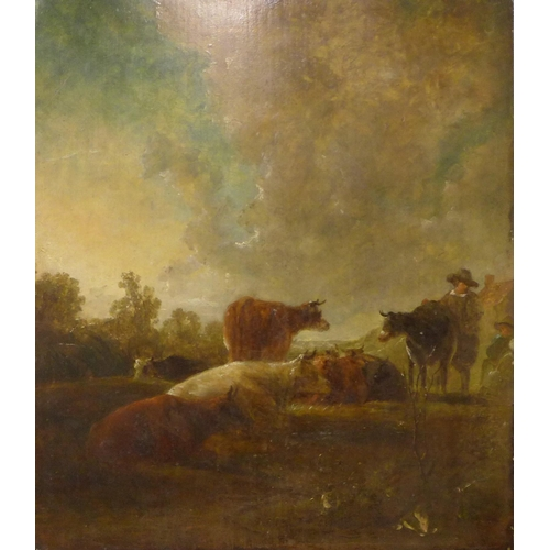 52 - English School (19th Century), landscape with peasant figures and cattle, oil on board, 46 x 40cms, ...