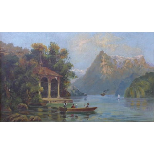 59 - * Searl, Tell's Chapel lake Lucerne and Lake Thun, oil on canvas, 29 x 50cms, framed