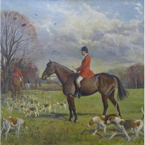 6 - Adrian Horsley, fox hunting scene, oil on canvas, 91 x 90cms, framed