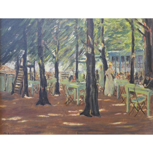 67 - French Post Impressionist School, landscape with figures at an outside cafe, oil on board, indistinc...