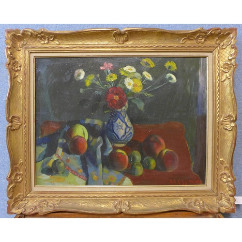 73 - L. Gaudeaux (French), still life of flowers and fruit, oil on canvas, oil on board, 45 x 60cms, fram...